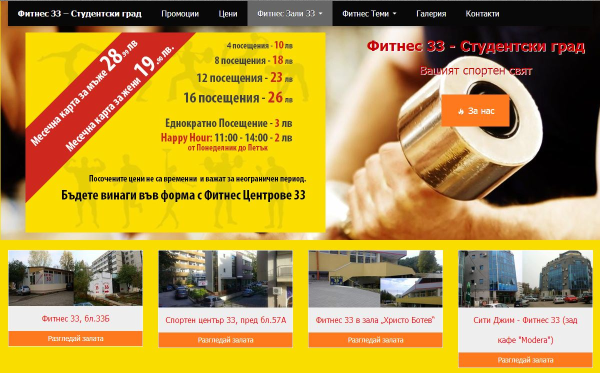 Фитнес 33 | fitness33.com | Web Design | SEO Optimization